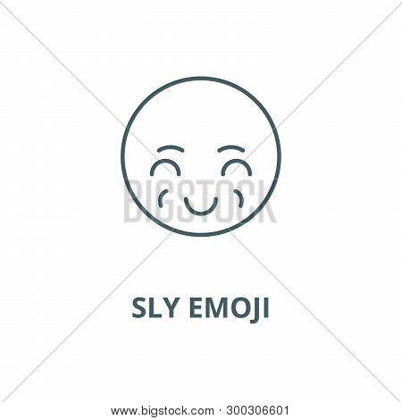 Sly Emoji Vector Line Icon, Linear Concept, Outline Sign, Symbol