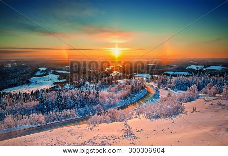 View Of Natural Beauty Of Sunset During Golden Hour