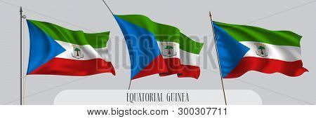 Set Of Equatorial Guinea Waving Flag On Isolated Background Vector Illustration. 3 Blue Green Guinea