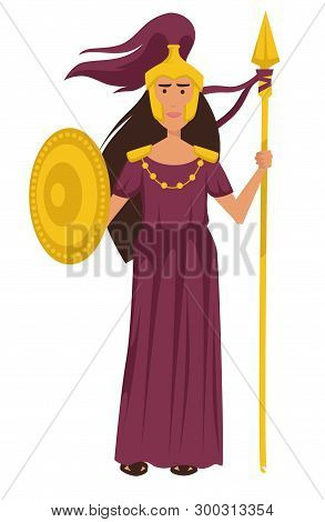 Athena Ancient Greek Goddess In Gold Armor Isolated Female Character