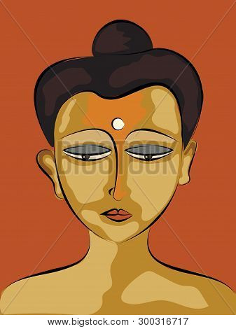 Gautama Buddha Face.happy Vesak Day Illustration Vector Image