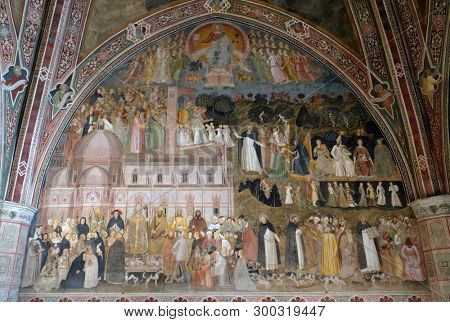 FLORENCE, ITALY - JANUARY 10, 2019: The Active and Triumphant Church, fresco by Andrea Di Bonaiuto, Spanish Chapel in Santa Maria Novella Principal Dominican church in Florence, Italy