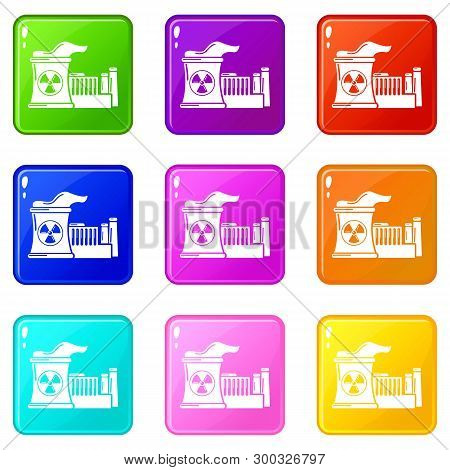 Atomic Reactor Icons Set 9 Color Collection Isolated On White For Any Design