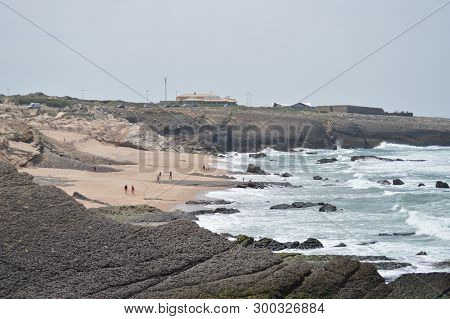 Beautiful Cresmina Beach With Fort Crismina On Top Right In Cascais. Photograph Of Street, Nature, A