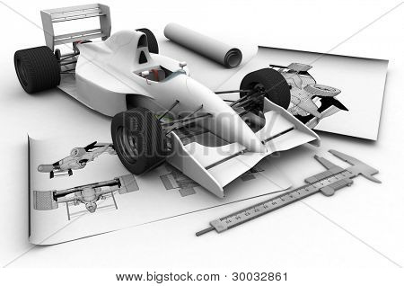 Sports cars and drawings on a white background.