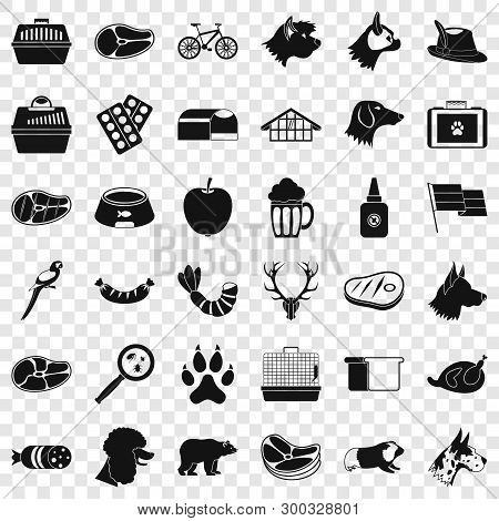 Domestic Dog Icons Set. Simple Style Of 36 Domestic Dog Vector Icons For Web For Any Design