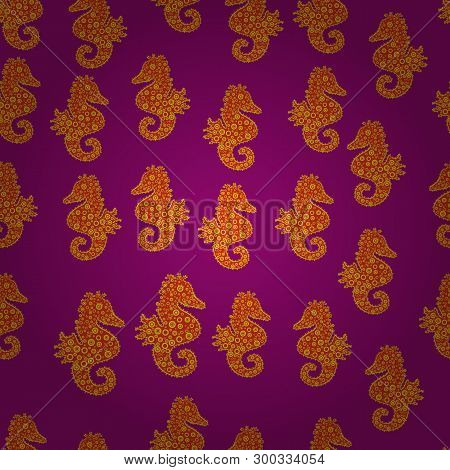 Hippocampus Vector Cartoon Icon Set Of Underwater Fish And Silhouette Isolated On Orange, Purple And
