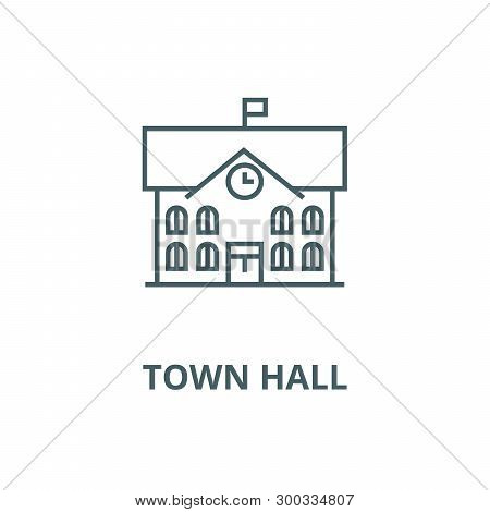 Town Hall, City Hall Vector Line Icon, Linear Concept, Outline Sign, Symbol