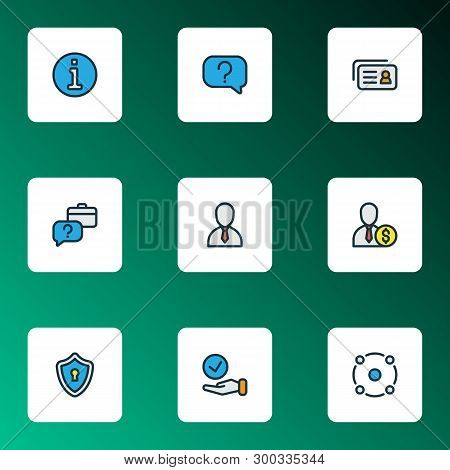 Business Icons Colored Line Set With Sharing, Choice, Faq And Other Inform Elements. Isolated Vector