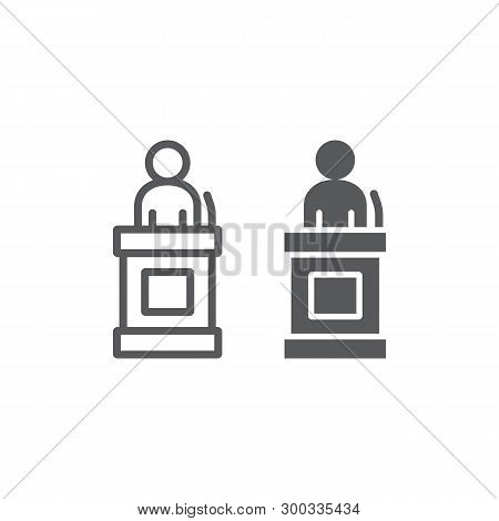 Witness Line And Glyph Icon, Justice And Law, Defendant Sign, Vector Graphics, A Linear Pattern On A