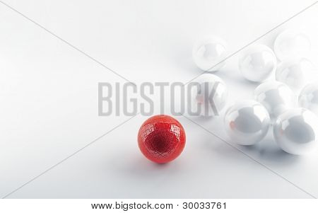 White spheres and red sphere in a kind puzzle