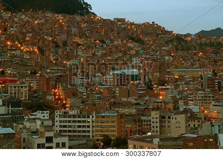 Impressive Evening View Of Light Up Hillside Dwelling Of La Paz, Bolivia, South America, 27th April