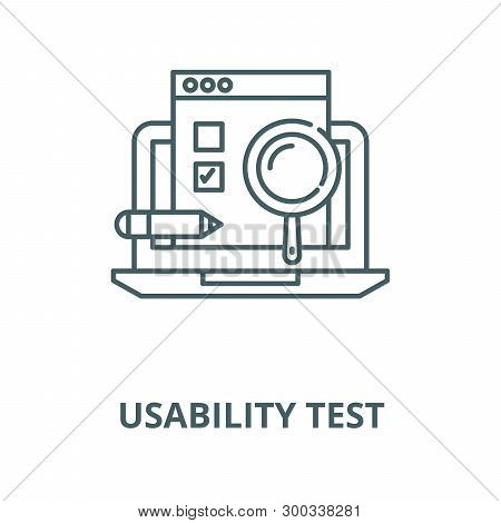 Usability Test Vector Line Icon, Linear Concept, Outline Sign, Symbol
