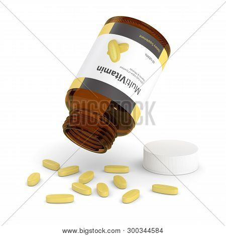 3d Render Of Multivitamin Bottle With Pills Isolated Over White Backgroud