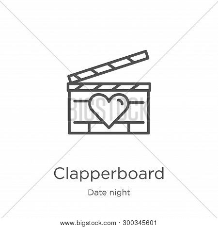 Clapperboard Icon Isolated On White Background From Date Night Collection. Clapperboard Icon Trendy