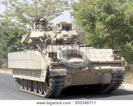 Iraq, Baghdad - 4 July 2016 Military Army Vehicle Tank On Tracks With Barrel. Army Tank Consists Of