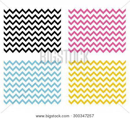 4 Chevron Seamless Patterns. Chevron Background. Zig Zag Texture..