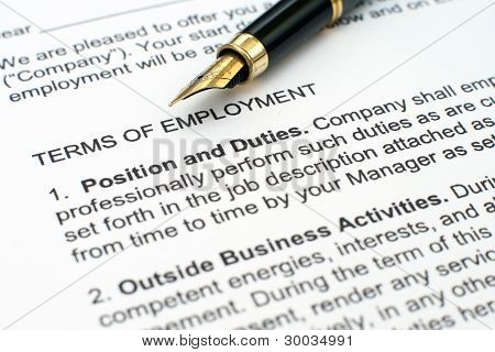 Close up of fountain pen on Employment contract poster