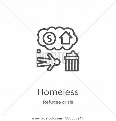 Homeless Icon Isolated On White Background From Refugee Crisis Collection. Homeless Icon Trendy And