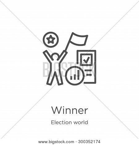 Winner Icon Isolated On White Background From Election World Collection. Winner Icon Trendy And Mode