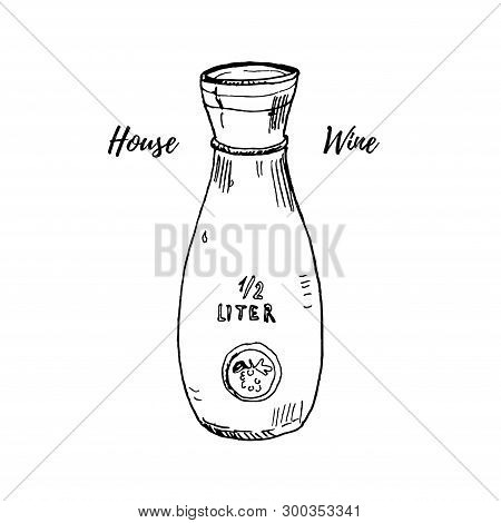 Glass Wine Or Water Carafe Vector Illustration Isolated On White. Hand Drawn Ink Sketch. Italian And