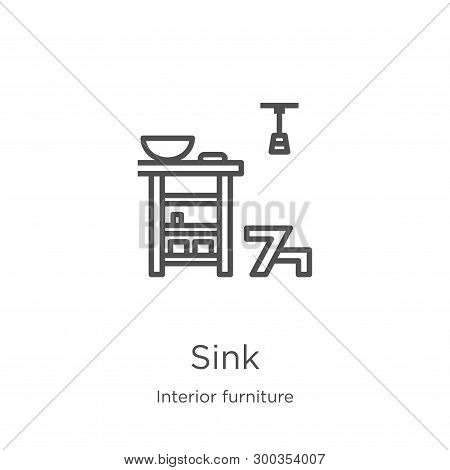 Sink Icon Isolated On White Background From Interior Furniture Collection. Sink Icon Trendy And Mode