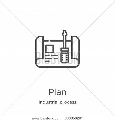 Plan Icon Isolated On White Background From Industrial Process Collection. Plan Icon Trendy And Mode