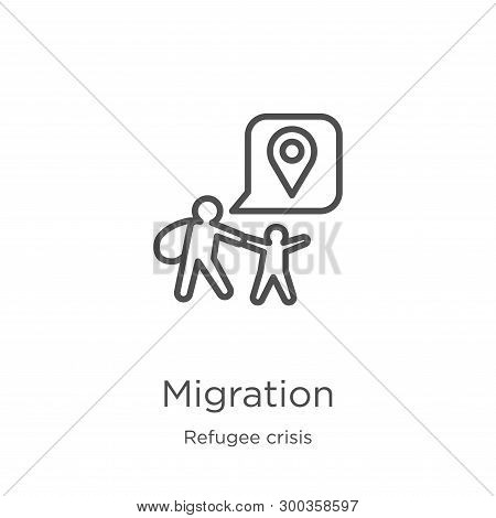 Migration Icon Isolated On White Background From Refugee Crisis Collection. Migration Icon Trendy An