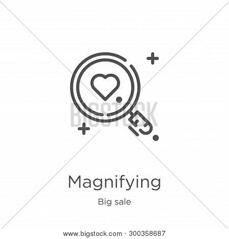 Magnifying Icon Isolated On White Background From Big Sale Collection. Magnifying Icon Trendy And Mo