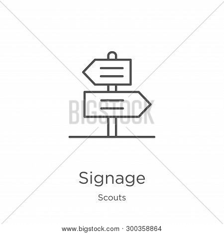 Signage Icon Isolated On White Background From Scouts Collection. Signage Icon Trendy And Modern Sig
