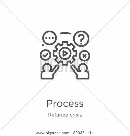 Process Icon Isolated On White Background From Refugee Crisis Collection. Process Icon Trendy And Mo
