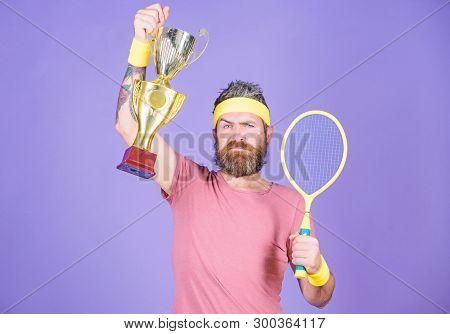 Success And Achievement. Win Tennis Game. Tennis Match Winner. Achieved Top. Tennis Player Win Champ
