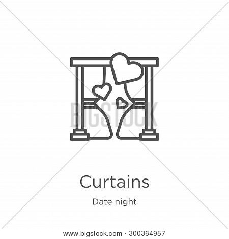 Curtains Icon Isolated On White Background From Date Night Collection. Curtains Icon Trendy And Mode