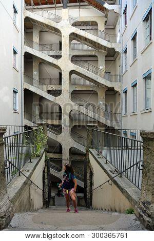 Lyon, France - August 16, 2018: Big Six-floor Stairway Called Cour Des Voraces Or Maison De La R