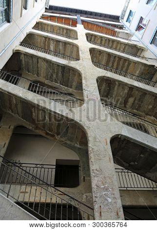 Lyon, France - August 16, 2018: Six-floor Stairway Called Cour Des Voraces Or Maison De La R