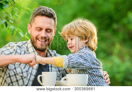 Feed Baby. Natural Nutrition Concept. Fathers Day. Best Friends. Father And Son Having Fun. Feeding