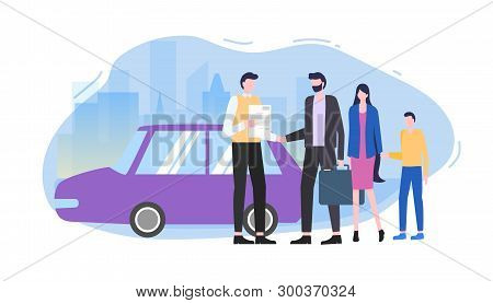 Man Buy Car Automobile Seller Make Contract Vector Illustration. Family Rent Auto Salesman Woman Boy