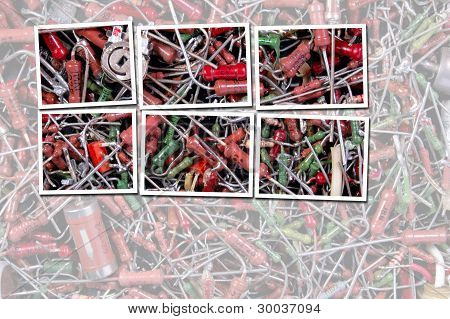 Abstract old radio component chaotically located background arranged with frames. poster