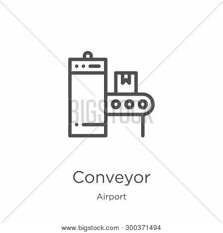 Conveyor Icon Isolated On White Background From Airport Collection. Conveyor Icon Trendy And Modern