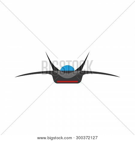 Space Fighter Front View Flat Vector Icon. Flight Transport Aerospace Combat Technology Plane.