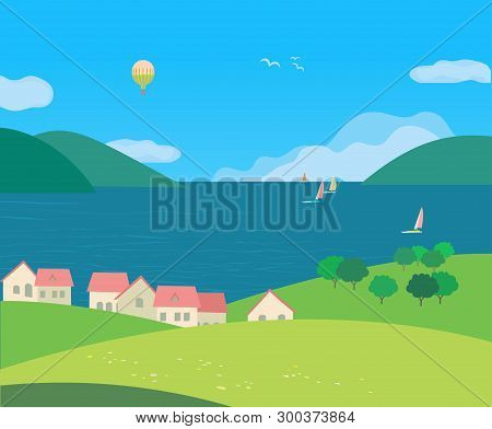 Landscape With Village Rural Houses On Seaside Cartoon. Hand Drawn Sunny Day In Rural Community On L
