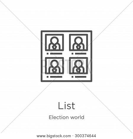 List Icon Isolated On White Background From Election World Collection. List Icon Trendy And Modern L