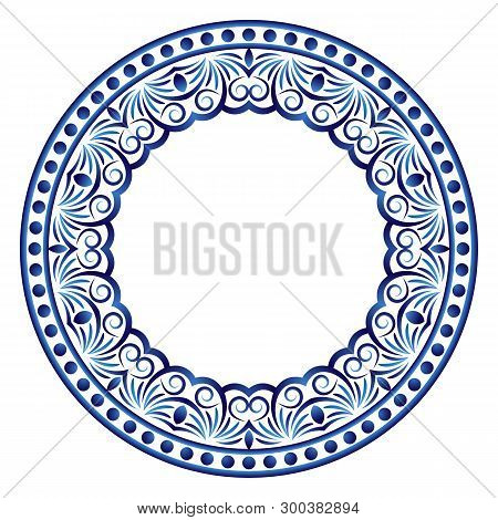 Ceramic Tile Pattern. Decorative Round Ornament. White Background With Art Frame. Islamic, Indian, A