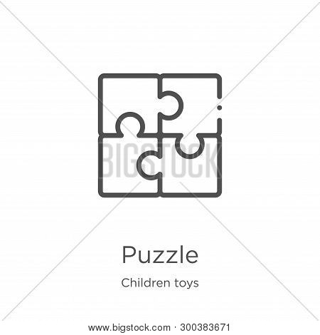 Puzzle Icon Isolated On White Background From Children Toys Collection. Puzzle Icon Trendy And Moder