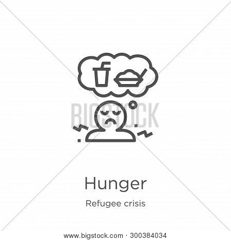 Hunger Icon Isolated On White Background From Refugee Crisis Collection. Hunger Icon Trendy And Mode