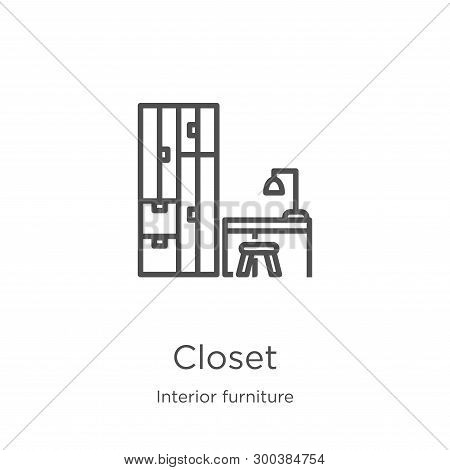 Closet Icon Isolated On White Background From Interior Furniture Collection. Closet Icon Trendy And