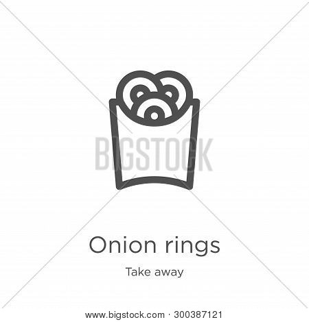 Onion Rings Icon Isolated On White Background From Take Away Collection. Onion Rings Icon Trendy And