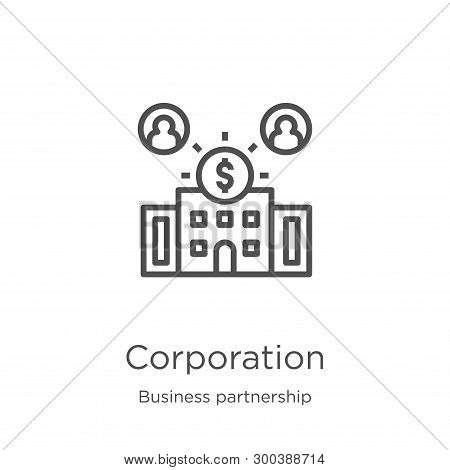 Corporation Icon Isolated On White Background From Business Partnership Collection. Corporation Icon