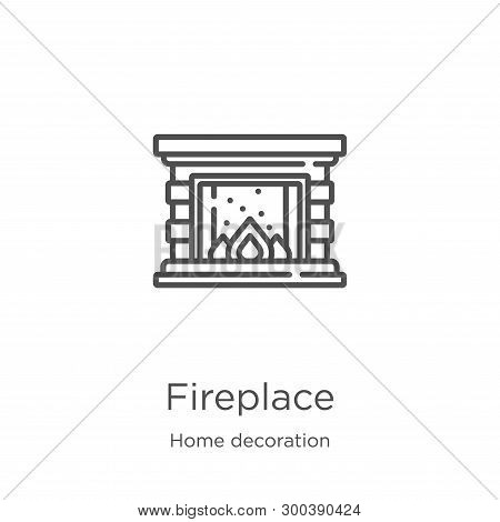 Fireplace Icon Isolated On White Background From Home Decoration Collection. Fireplace Icon Trendy A