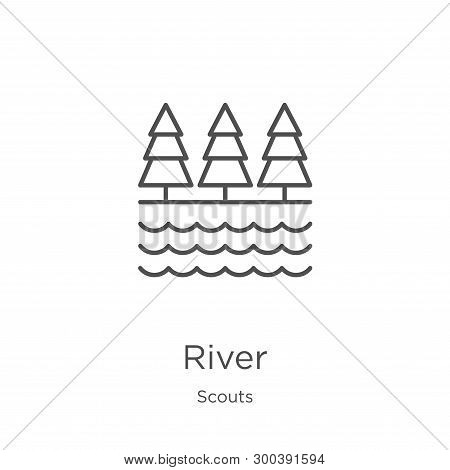 River Icon Isolated On White Background From Scouts Collection. River Icon Trendy And Modern River S